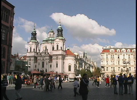 A medium-shot of the Church of St. Nicholas, Prague, and... Stock Video Footage