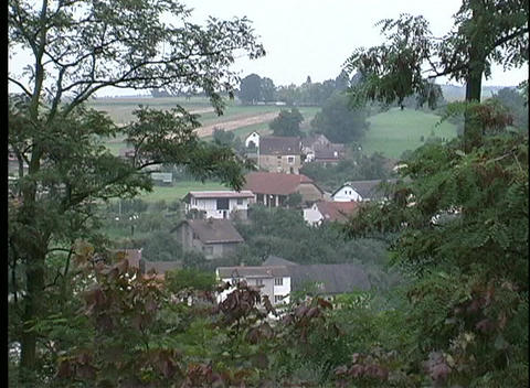 A view of houses on a hill, with trees and bushes in the foreground Footage