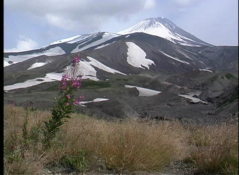 A scenic view of a volcano in Kamchatka, Siberia Footage