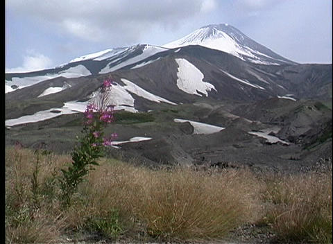 A scenic view of a volcano in Kamchatka, Siberia Stock Video Footage