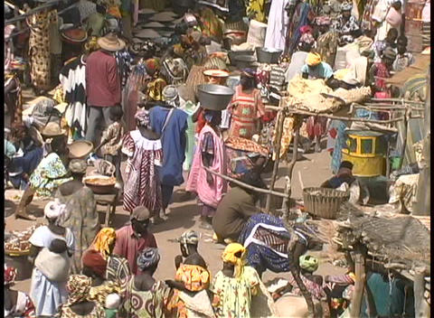 Birds-eye view of an crowded open market in Africa Stock Video Footage