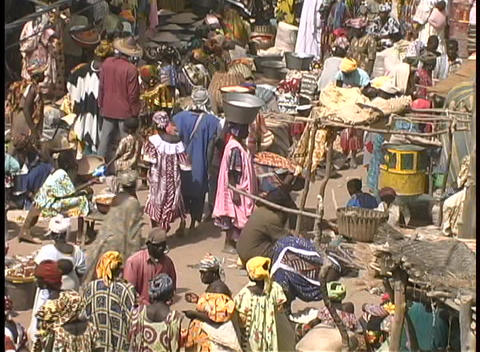 Birds-eye view of an crowded open market in Africa Footage