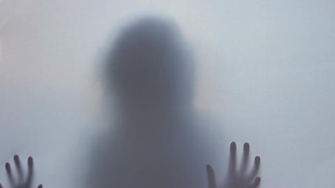 Horror thriller shadow silhouette, woman killed murdered scared Footage