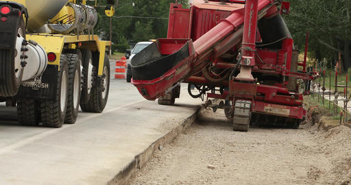 Construction cement truck filling equipment highway DCI 4K Footage