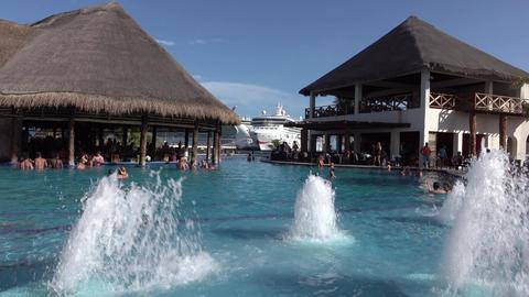 Costa Maya Mexico marina swimming pool bar cruise ships 4K Footage