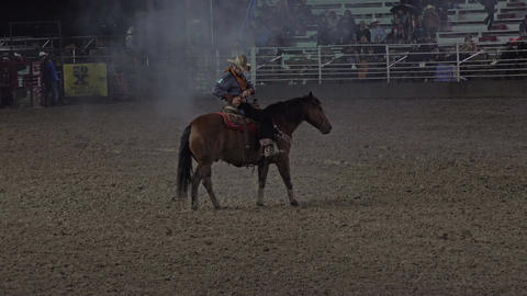 Cowboy Mustang horse training demonstration rodeo 4K 291 Footage