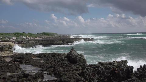 Cozumel Mexico beautiful rocky shore surf 4K Footage