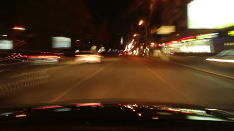 Night driving time lapse, cars leave traces with lights, city Footage