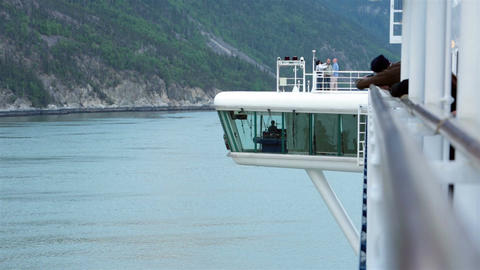 Cruise Ship navigation bridge in Alaskan ocean waters HD 7226 Footage