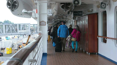 Cruise passengers departing vacation from deck HD 7965 Footage