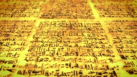Ancient script, old scroll with unknown letters, pan fly over Footage