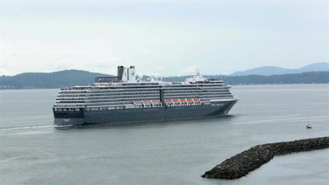 Cruise ship Holland American leaving Seattle Port HD 6820 Footage