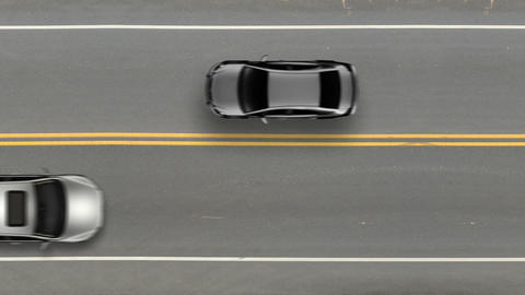 Cars passing by top view, road street traffic Footage