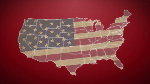 Separated United States map with US flag, red background Footage