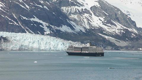 Cruise ship approaching Margerie Glacier Bay Alaska HD Footage