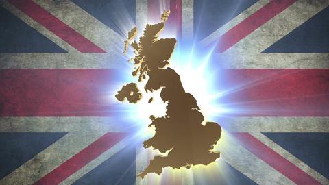 United Kingdom UK map with British flag on background Footage