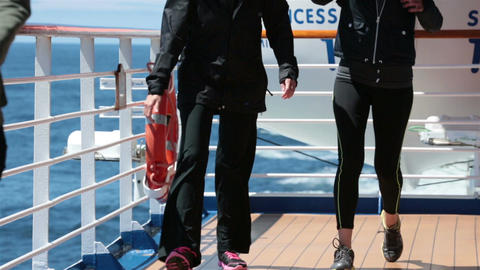 Cruise ship deck women walking for exercise Pacific Ocean HD 7829 Footage