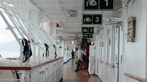 Cruise ship life raft deck emergency evacuation HD 7679 Footage