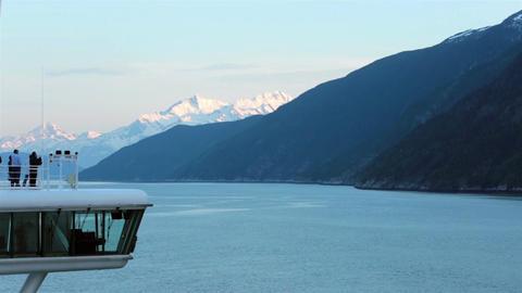 Cruise ship navigation deck entering Glacier Bay Alaska sunrise HD 7233 Footage
