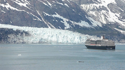 Cruise ship near Margerie Glacier Bay Alaska HD 1422 Footage
