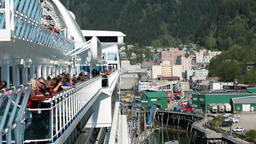 Cruise ship passengers on deck Juneau Alaska port HD 6970 Footage