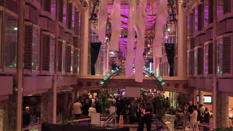 Cruise ship vacation luxury promenade passenger party 4K Footage