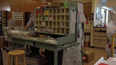 Dec US Post Office sorting room rural community 4K 027 Footage