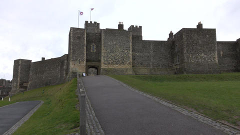 Dover Castle England entrance to gate pan 4K Footage