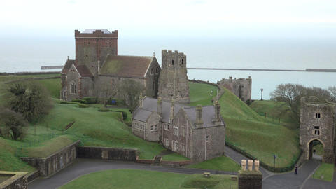 Dover Castle medieval Church from above tourism 4K Footage