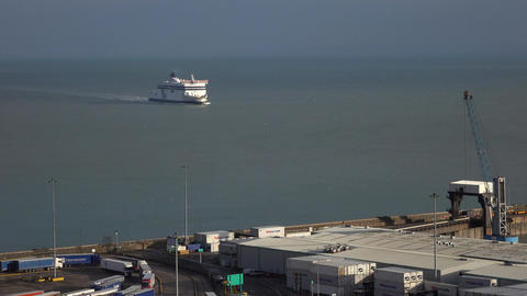 Dover England ferry arrives from France 4K Footage