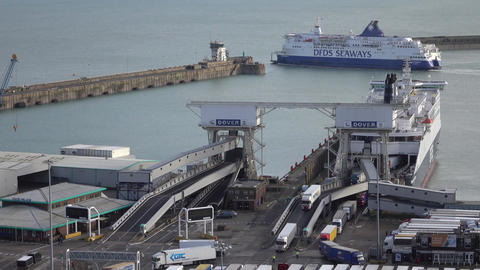 Dover England ferry cargo port vehicles exit ship 4K Footage