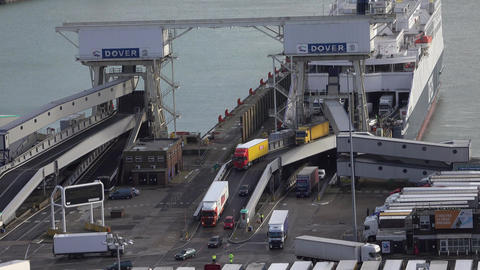 Dover Port England trucks cars exit ferry boat from France fast 4K Footage