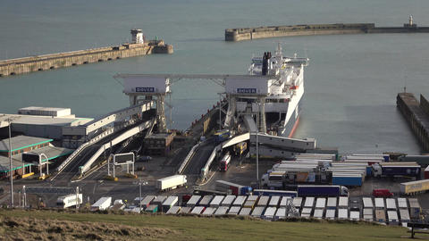 Dover England port ferry loading unloading trucks 4K Footage