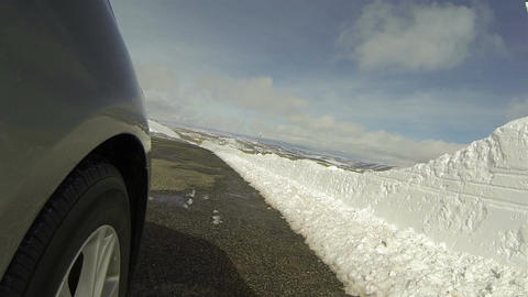 Drive mountain winter road wheel POV HD 0284 Footage