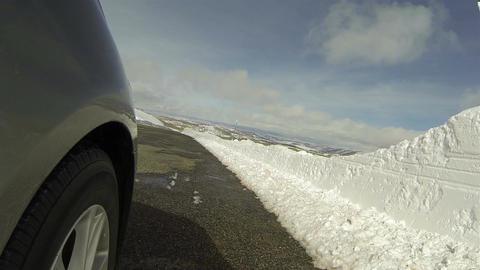 Drive mountain winter road wheel POV HD 0284 Footage