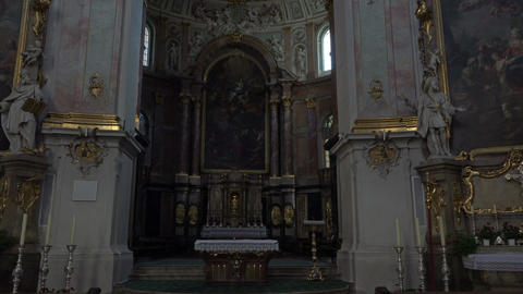 Ettal Abbey Benedictine Monastery Germany altar pan 4K 006 Footage