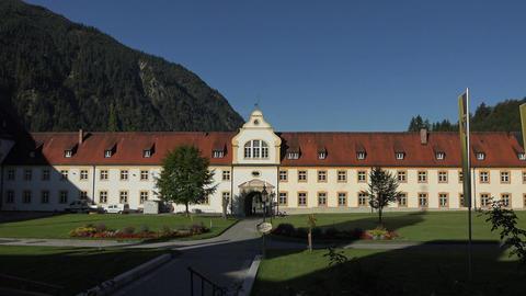 Ettal Abbey Benedictine Monastery Germany sunrise 4K 003 Footage