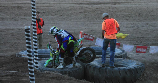 Extreme motorcycle dirt race tire Obstacle DCI 4K Footage