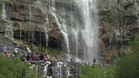 Family fun mountain Waterfall Bridal Veil Falls summer 4K Footage