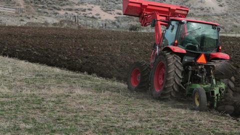 Farming tractor farmer plowing HD 2468 Footage