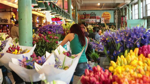 Flower floral market arranging blooms for business sale HD 6722 Footage
