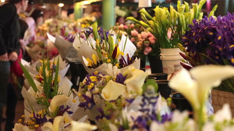 Fresh flower floral market Seattle waterfront business HD 6719 Footage