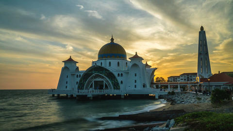 Floating Malacca Straits Mosque time lapse beside sea in sunset til night Footage