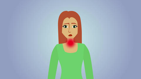 2D animation, sad Caucasian woman at blue grey background. Red circles appearing Live Action