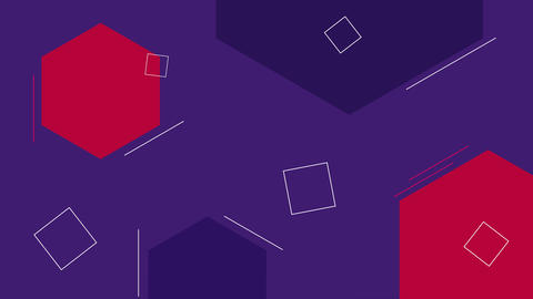 Simple looped dark blue and red background with geometric shapes Animation