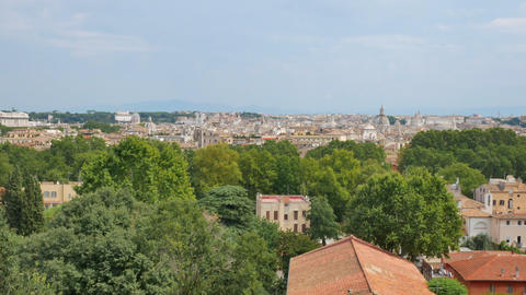 View from Janiculum Hill on the Rome city and the sights Live Action