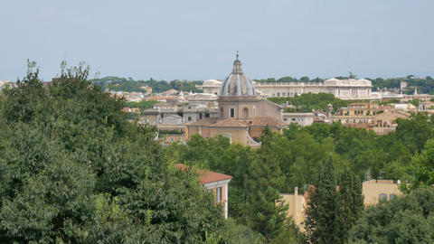 View from the hill on the old cathedrals in Rome Live Action