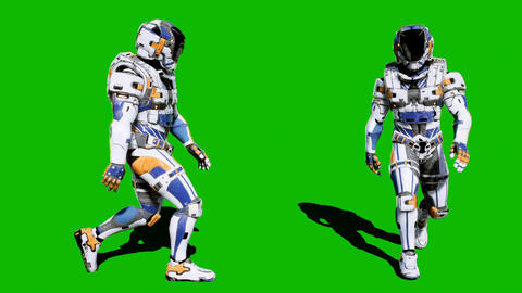 A lone soldier of the future walking on a green screen background. Looped Animation