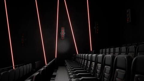 Cinema interior of movie theatre with rows of empty seats. Movie entertainment Animation