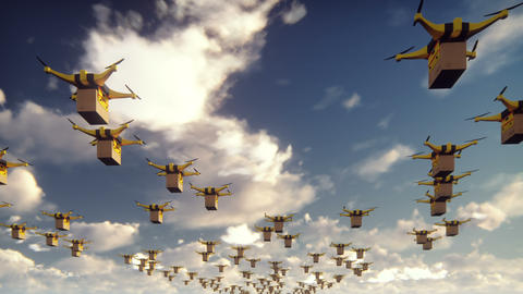 Autonomous delivery of parcels by unmanned drones-quadrocopters flying on a Animation